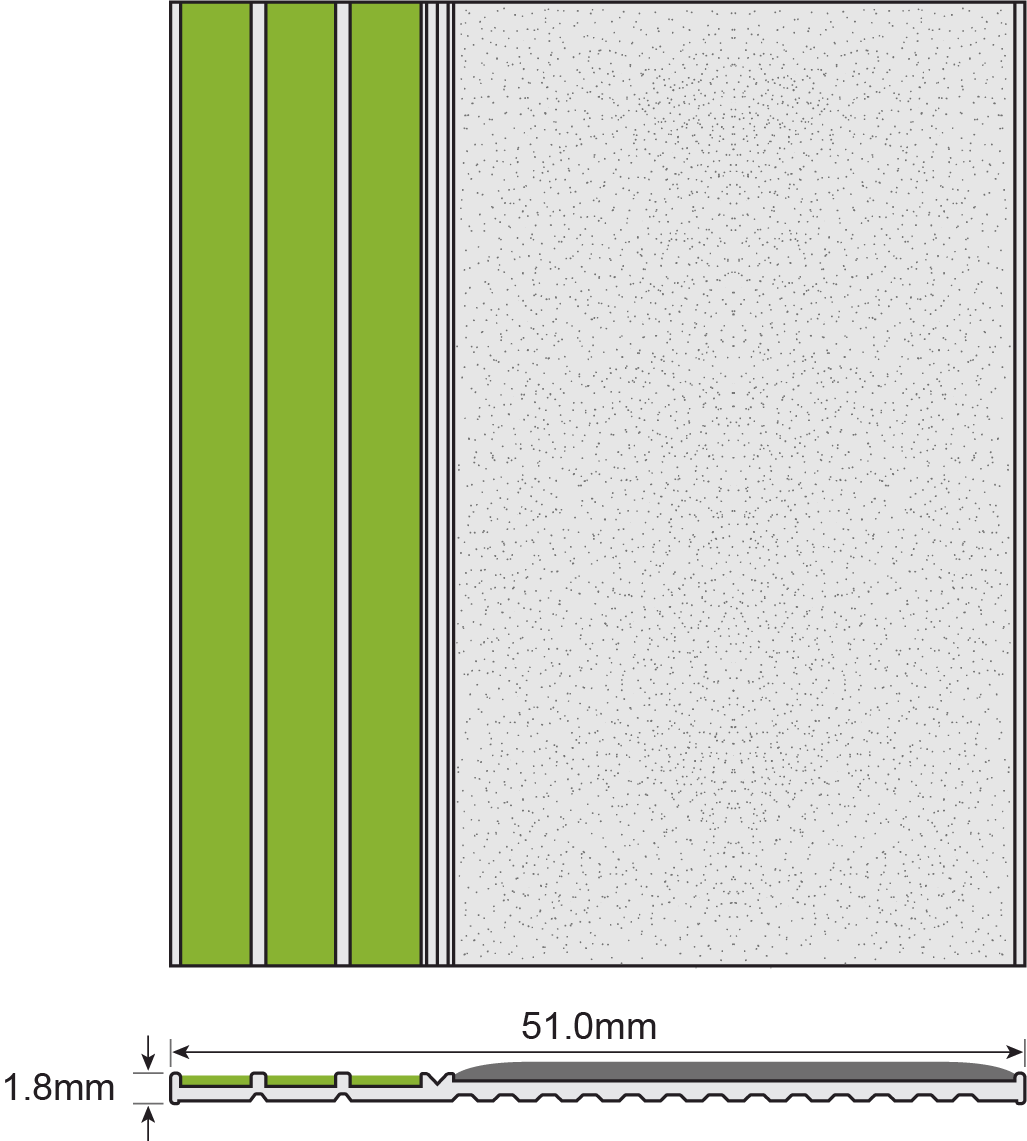 ESP Contrast Strip 1.8x51mm E3031 TITANIA PHOTOLUMINESCENT Technical Drawing