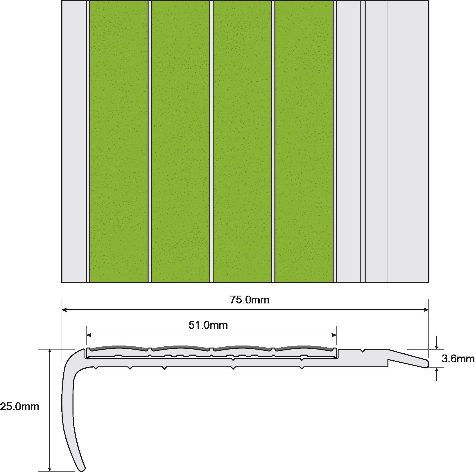 ESP Stair Nosing 25x75mm F8111 PHOTOLUMINESCENT Techical Drawing