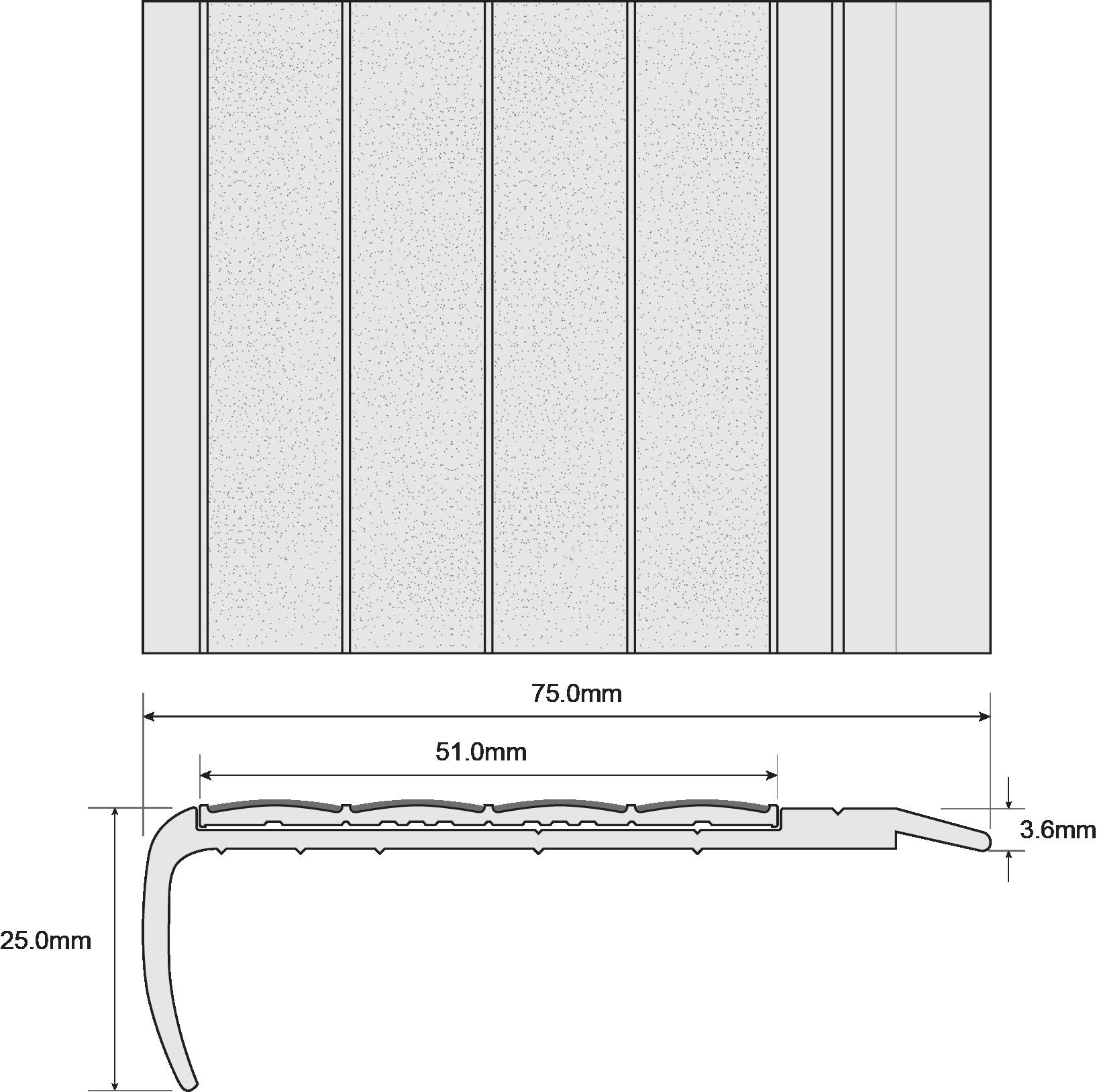 ESP Stair Nosing 25x75mm F8130 TITANIA Techincal Drawing