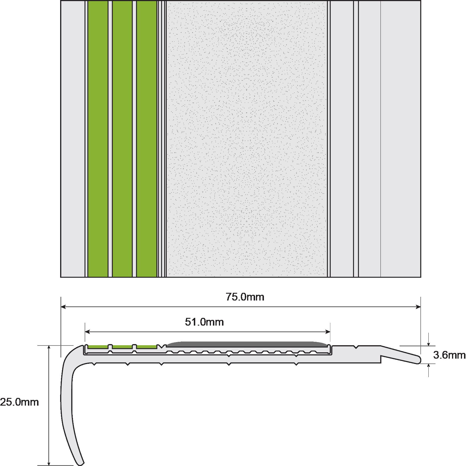 ESP Stair Nosing 25x75mm F8131 TITANIA 30mm Non Slip  PHOTOLUMINESCENT Technical Drawing