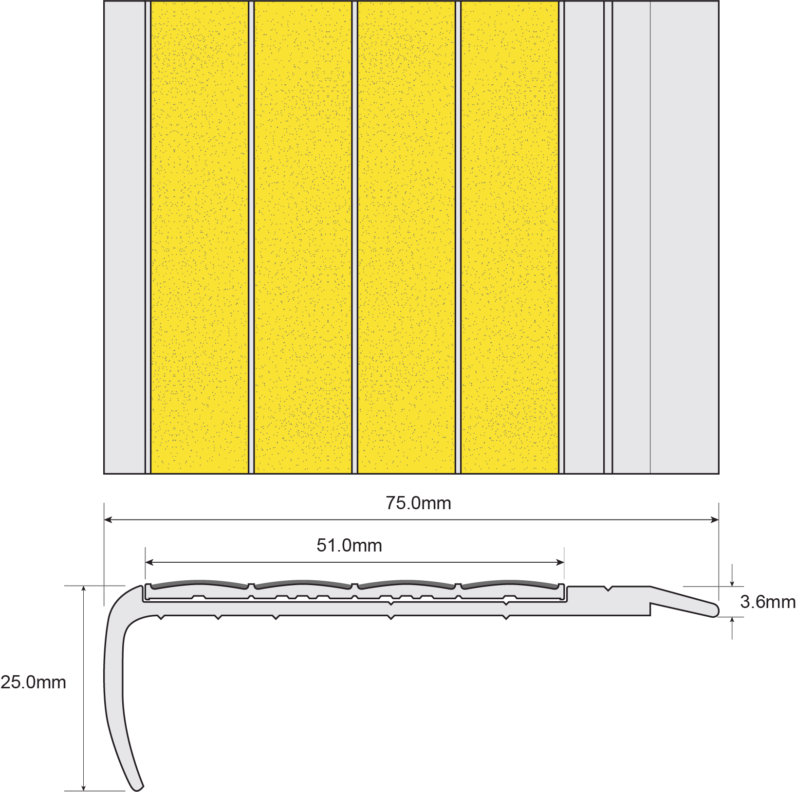 ESP Stair Nosing 25x75mm F8150 YELLOW Techincal Drawing