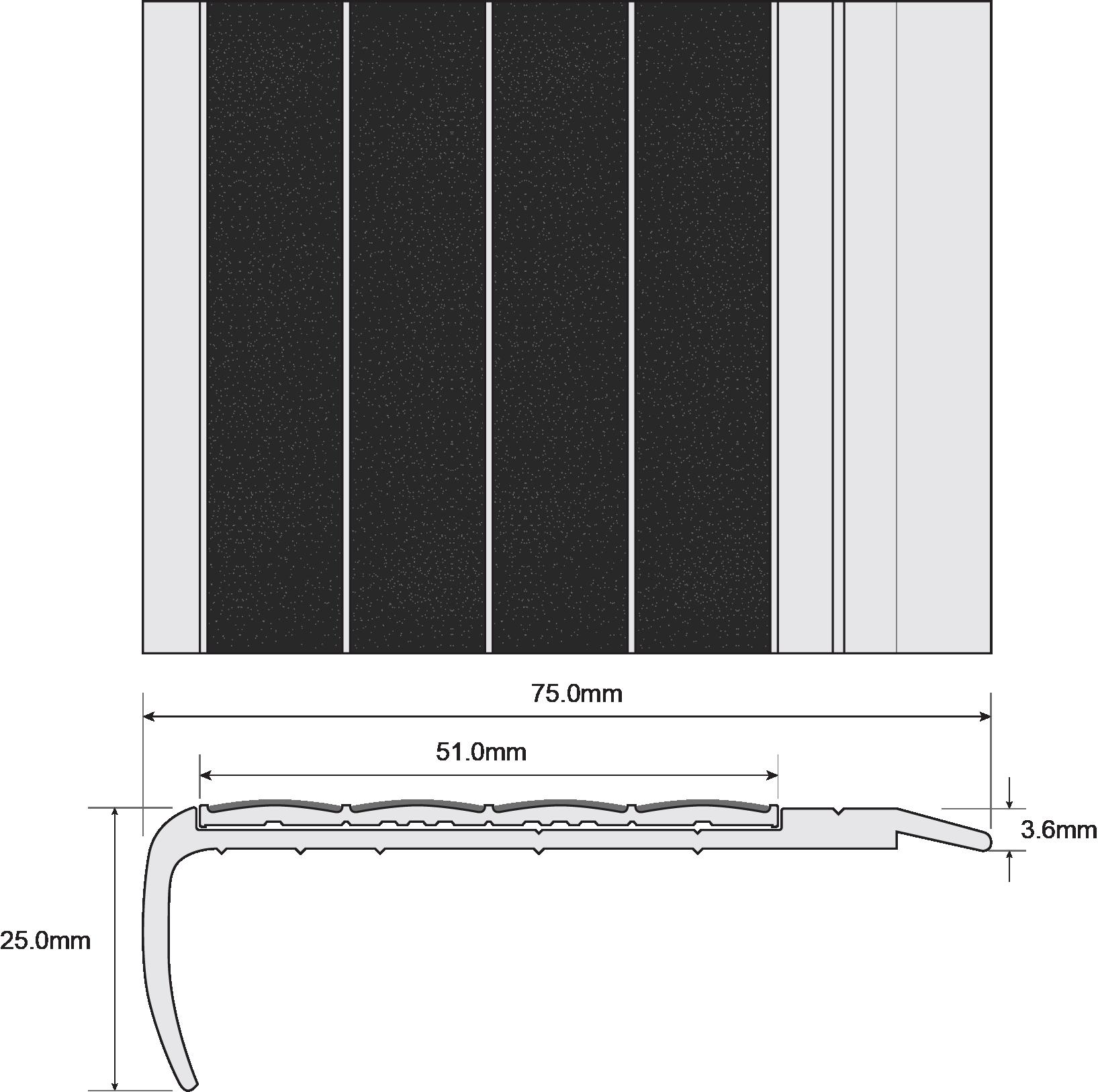 ESP Stair Nosing 25x75mm F8170 BLACK Technical Drawing
