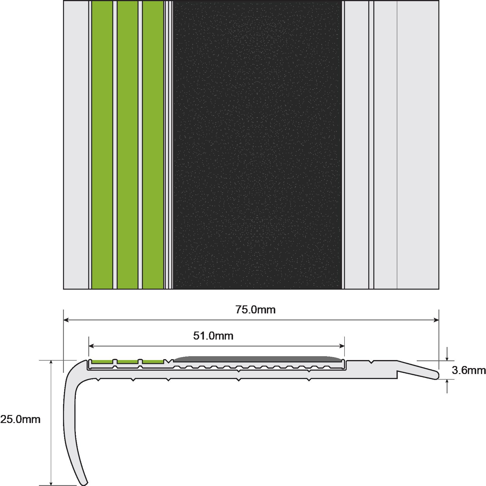 ESP Stair Nosing 25x75mm F8171 BLACK 30mm Non Slip  PHOTOLUMINESCENT Technical Drawing
