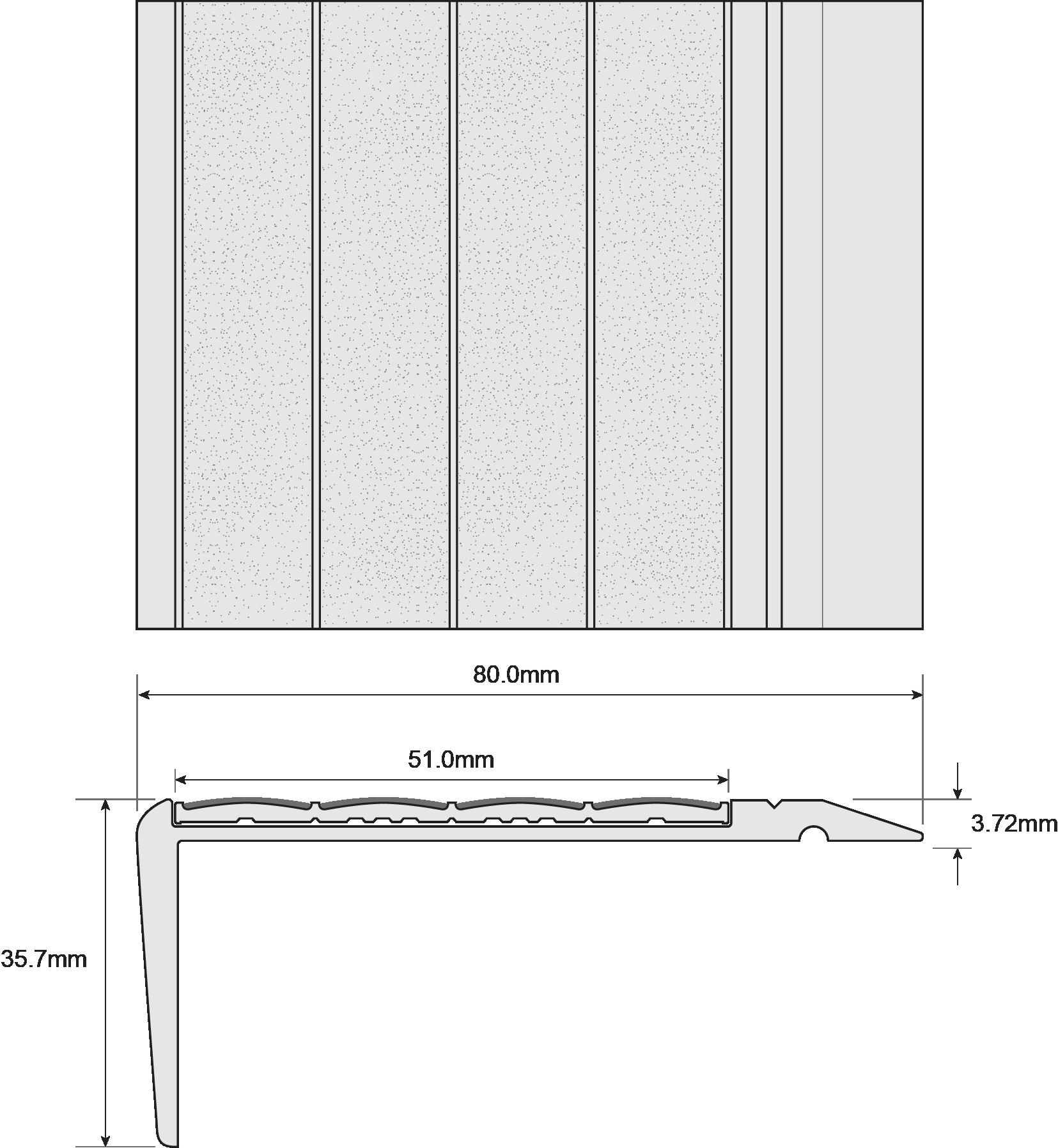 ESP Stair Nosing 35.7x80mm F430130 TITANIA Techincal Drawing