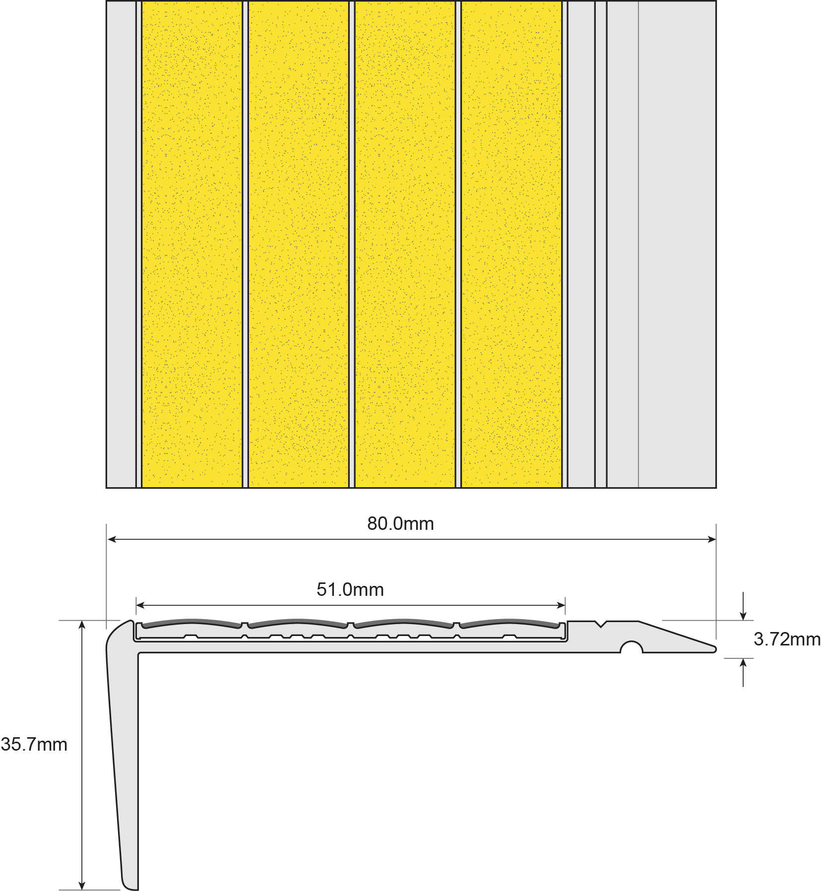 ESP Stair Nosing 35.7x80mm F430150 YELLOW Technical Drawing