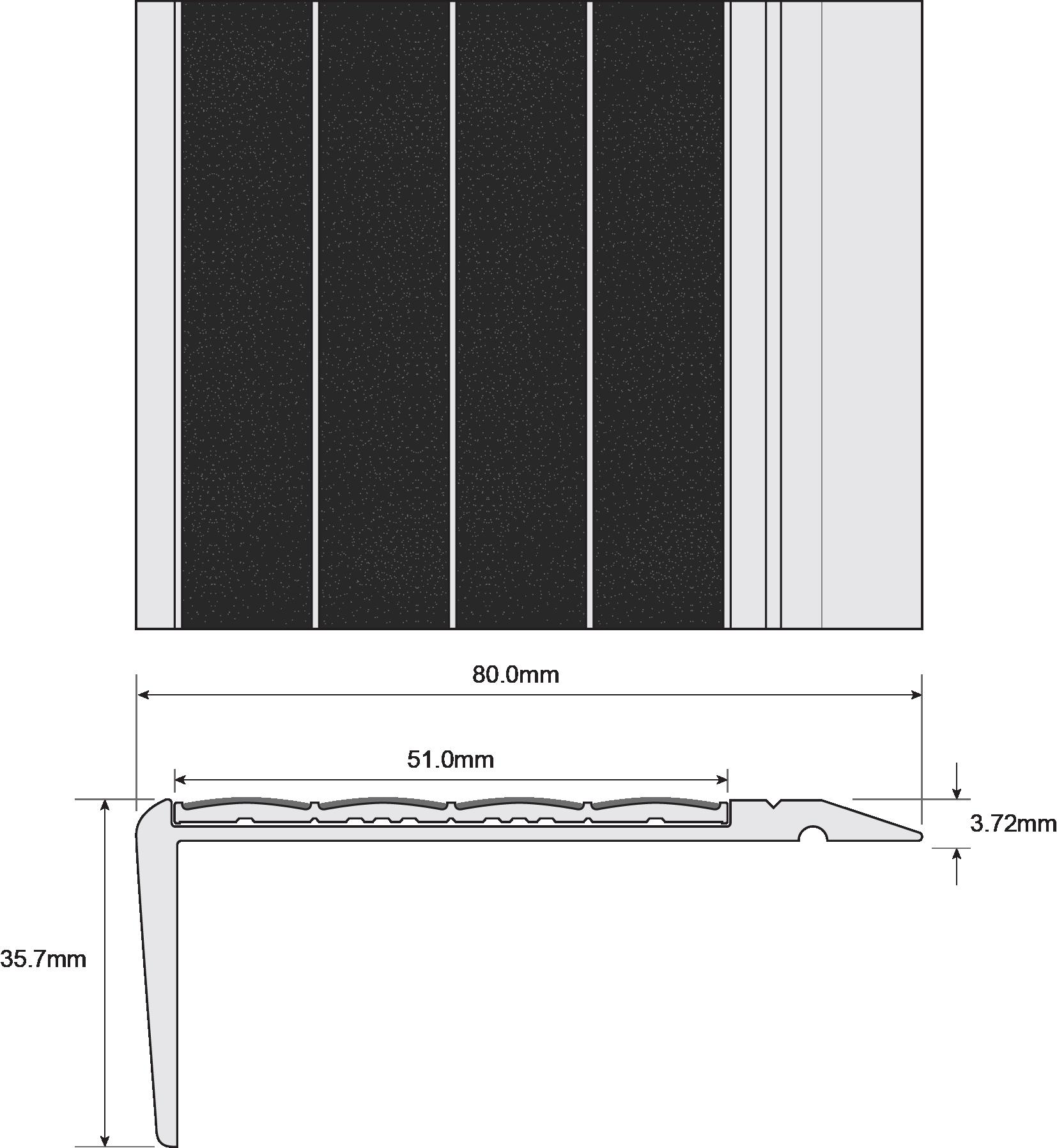 ESP Stair Nosing 35.7x80mm F430170 BLACK Techincal Drawing