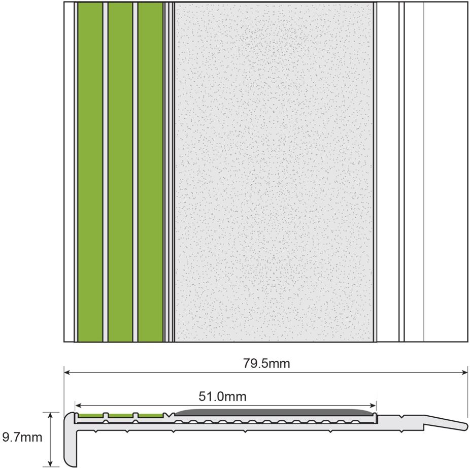 ESP Stair Nosing 9.7x79.5mm F430s131 TITANIA PHOTOLUMINESCENT Technical Drawing