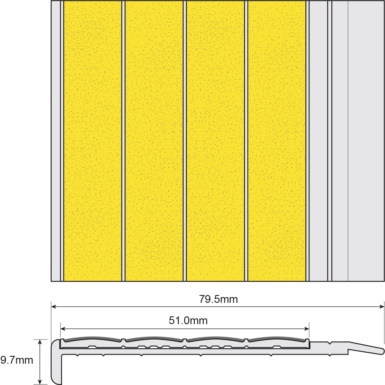 ESP Stair Nosing 9.7x79.5mm F430s150 YELLOW Technical Drawing