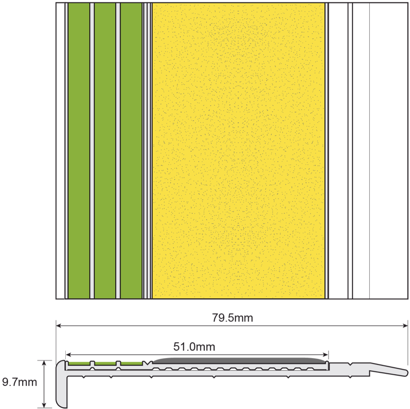 ESP Stair Nosing 9.7x79.5mm F430s151 YELLOW PHOTOLUMINESCENT Technical Drawing