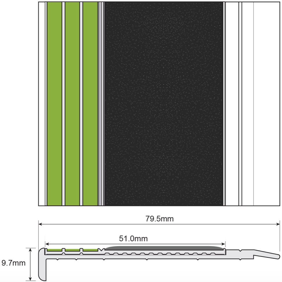 ESP Stair Nosing 9.7x79.5mm F430s171 BLACK PHOTOLUMINESCENT Technical Drawingg